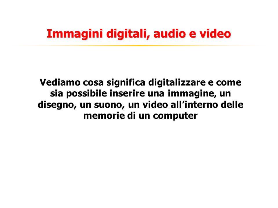 Immagini digitali, audio e video Vediamo cosa significa digitalizzare e come sia possibile inserire una immagine, un disegno, un suono, un video allinterno delle memorie di un computer