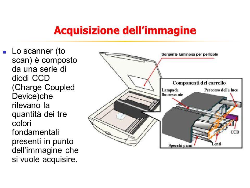 Acquisizione dellimmagine Lo scanner (to scan) è composto da una serie di diodi CCD (Charge Coupled Device)che rilevano la quantità dei tre colori fondamentali presenti in punto dellimmagine che si vuole acquisire.