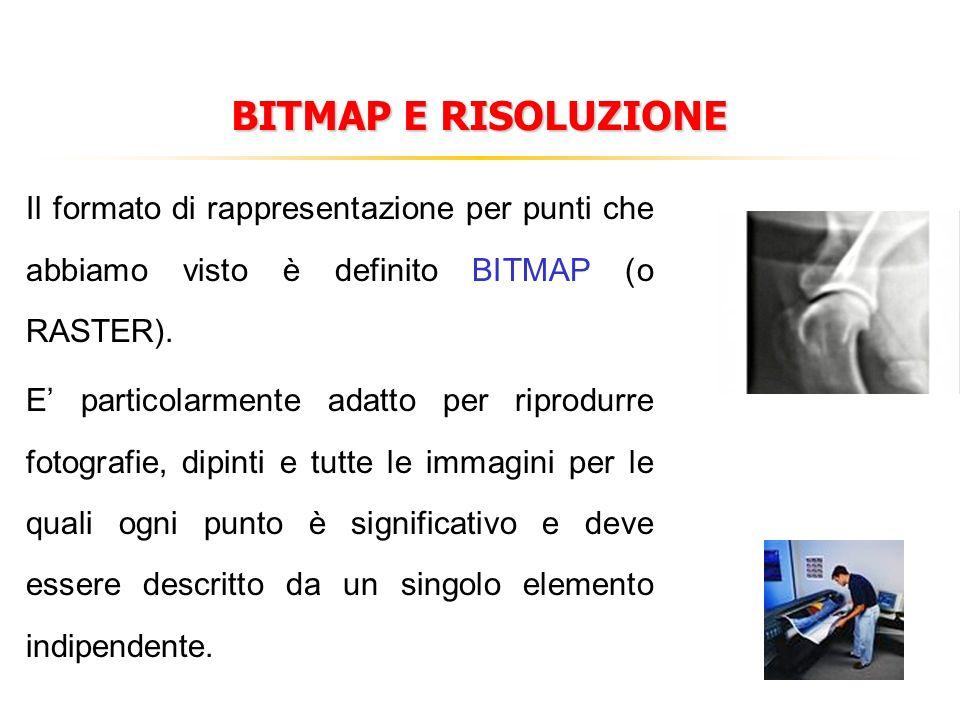 BITMAP E RISOLUZIONE Il formato di rappresentazione per punti che abbiamo visto è definito BITMAP (o RASTER). E particolarmente adatto per riprodurre