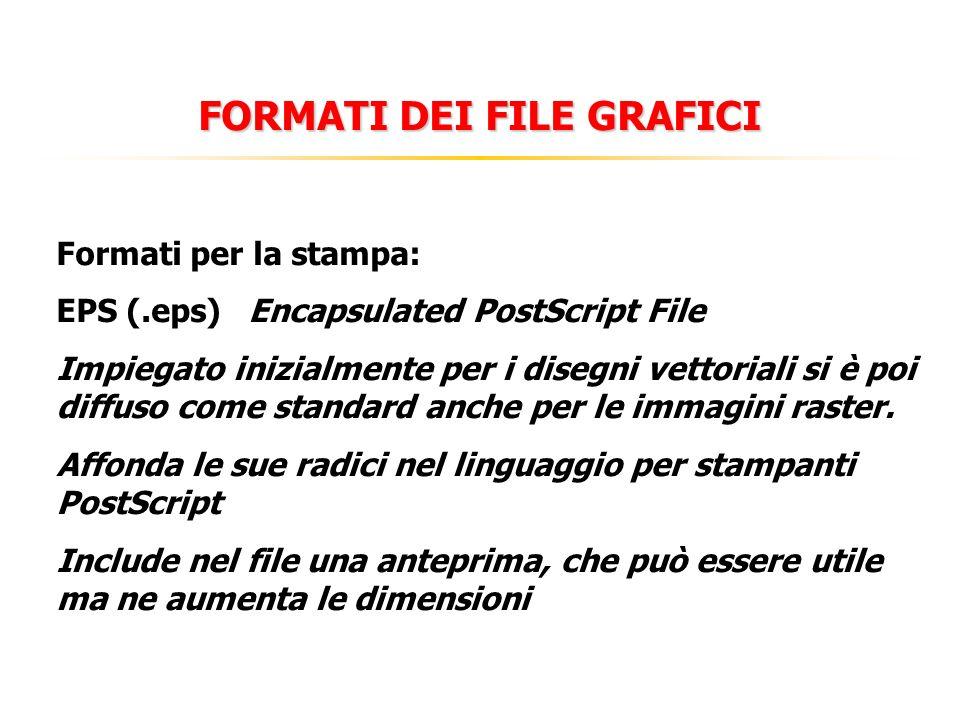 FORMATI DEI FILE GRAFICI Formati per la stampa: EPS (.eps)Encapsulated PostScript File Impiegato inizialmente per i disegni vettoriali si è poi diffuso come standard anche per le immagini raster.