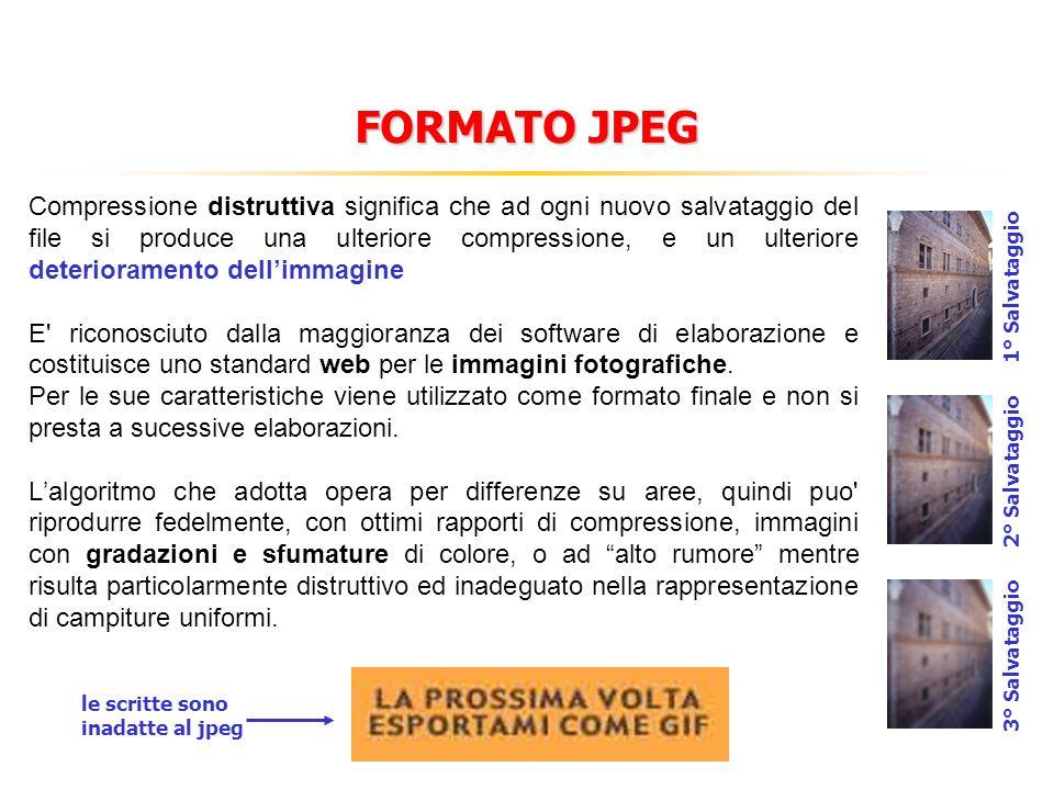 FORMATO JPEG Compressione distruttiva significa che ad ogni nuovo salvataggio del file si produce una ulteriore compressione, e un ulteriore deterioramento dellimmagine E riconosciuto dalla maggioranza dei software di elaborazione e costituisce uno standard web per le immagini fotografiche.