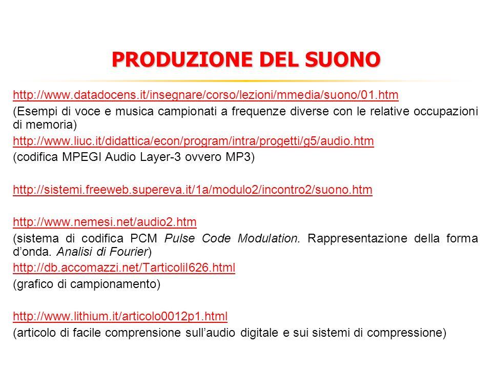 http://www.datadocens.it/insegnare/corso/lezioni/mmedia/suono/01.htm (Esempi di voce e musica campionati a frequenze diverse con le relative occupazioni di memoria) http://www.liuc.it/didattica/econ/program/intra/progetti/g5/audio.htm (codifica MPEGI Audio Layer-3 ovvero MP3) http://sistemi.freeweb.supereva.it/1a/modulo2/incontro2/suono.htm http://www.nemesi.net/audio2.htm (sistema di codifica PCM Pulse Code Modulation.