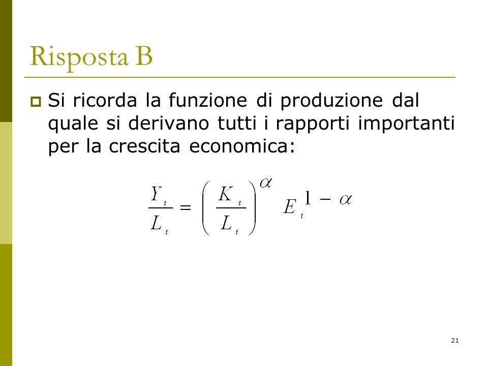 21 Risposta B Si ricorda la funzione di produzione dal quale si derivano tutti i rapporti importanti per la crescita economica: