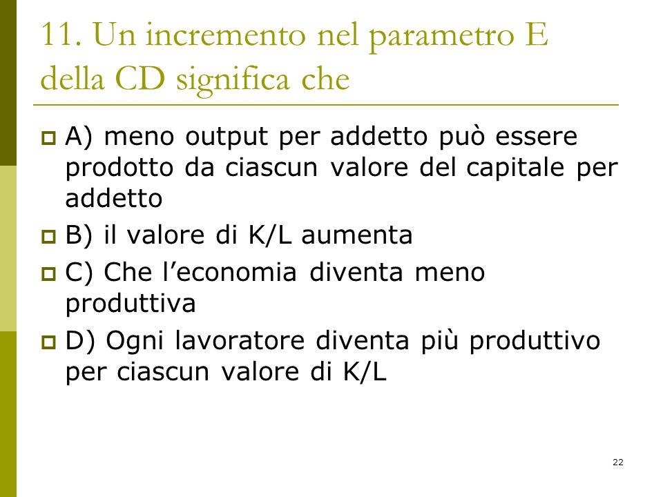 22 11. Un incremento nel parametro E della CD significa che A) meno output per addetto può essere prodotto da ciascun valore del capitale per addetto