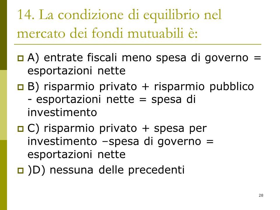 28 14. La condizione di equilibrio nel mercato dei fondi mutuabili è: A) entrate fiscali meno spesa di governo = esportazioni nette B) risparmio priva