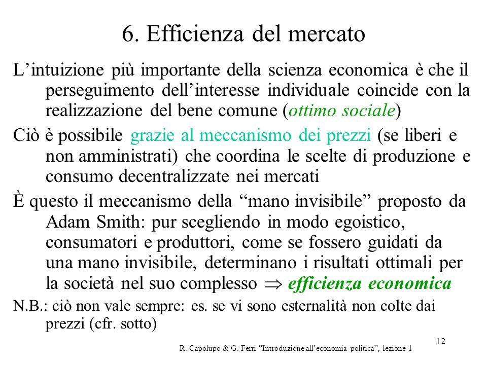 12 6. Efficienza del mercato Lintuizione più importante della scienza economica è che il perseguimento dellinteresse individuale coincide con la reali