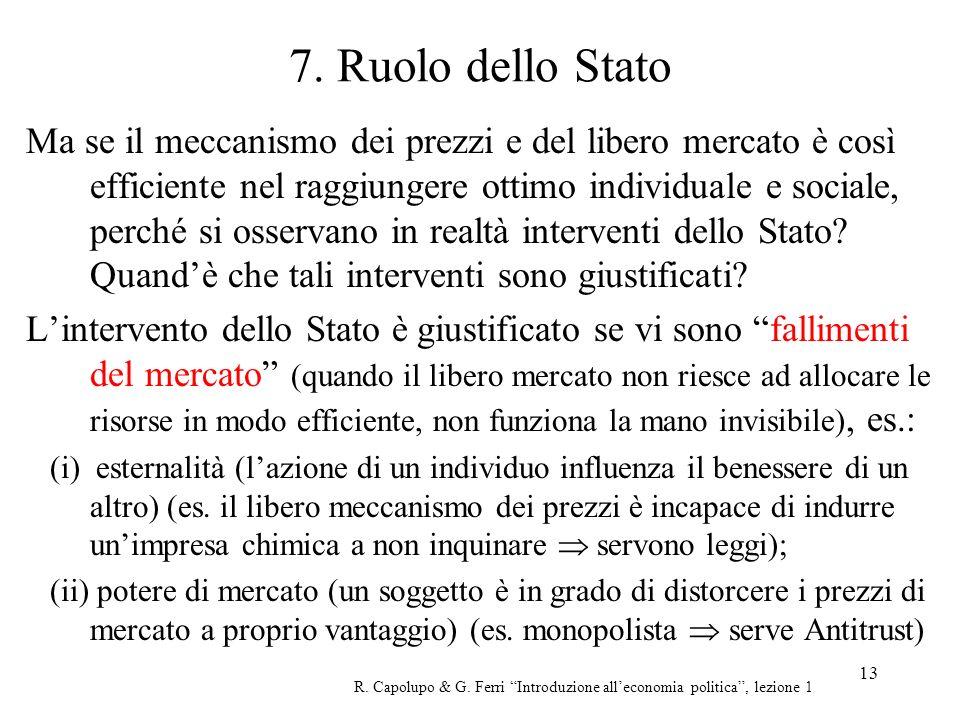 13 7. Ruolo dello Stato Ma se il meccanismo dei prezzi e del libero mercato è così efficiente nel raggiungere ottimo individuale e sociale, perché si