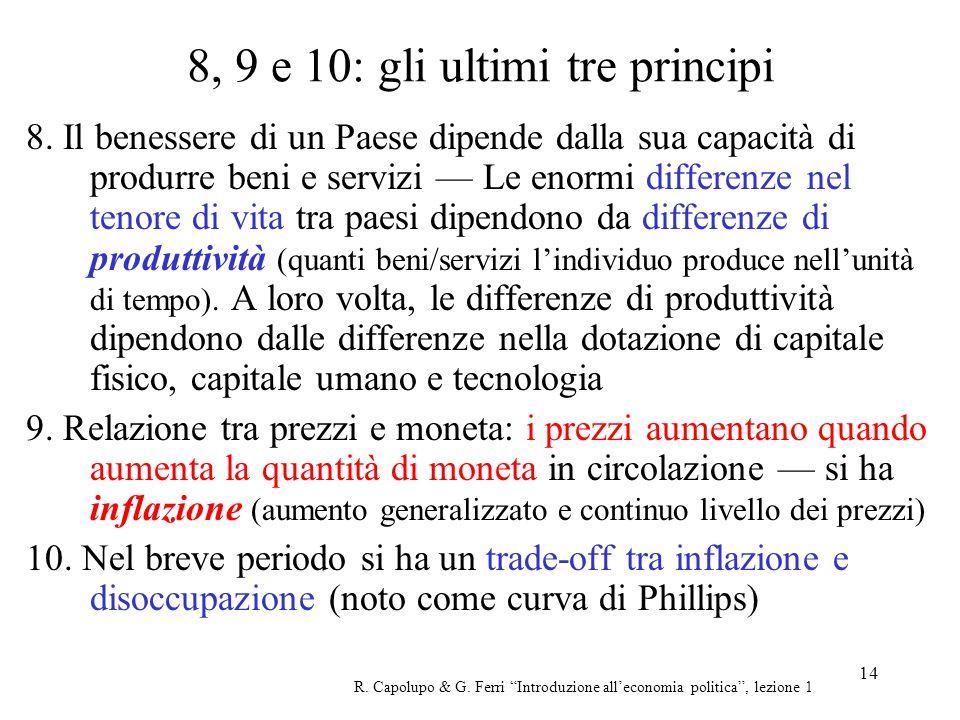 14 8, 9 e 10: gli ultimi tre principi 8. Il benessere di un Paese dipende dalla sua capacità di produrre beni e servizi Le enormi differenze nel tenor