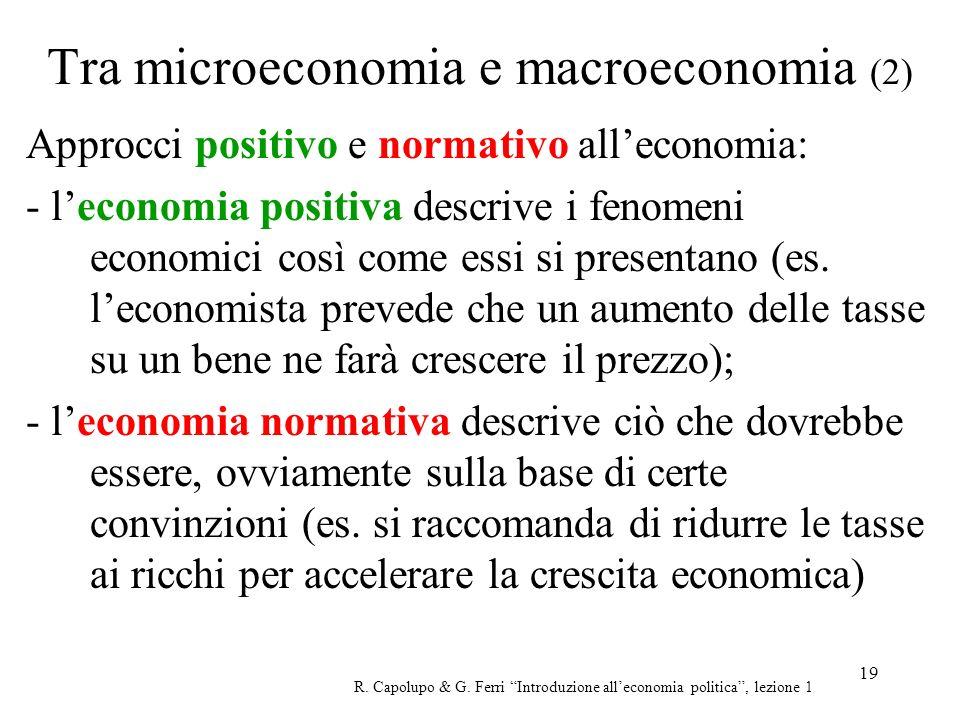 19 Tra microeconomia e macroeconomia (2) Approcci positivo e normativo alleconomia: - leconomia positiva descrive i fenomeni economici così come essi