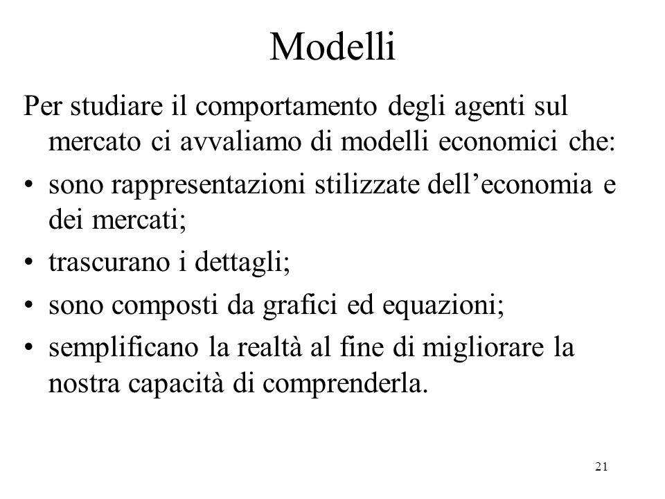 21 Modelli Per studiare il comportamento degli agenti sul mercato ci avvaliamo di modelli economici che: sono rappresentazioni stilizzate delleconomia