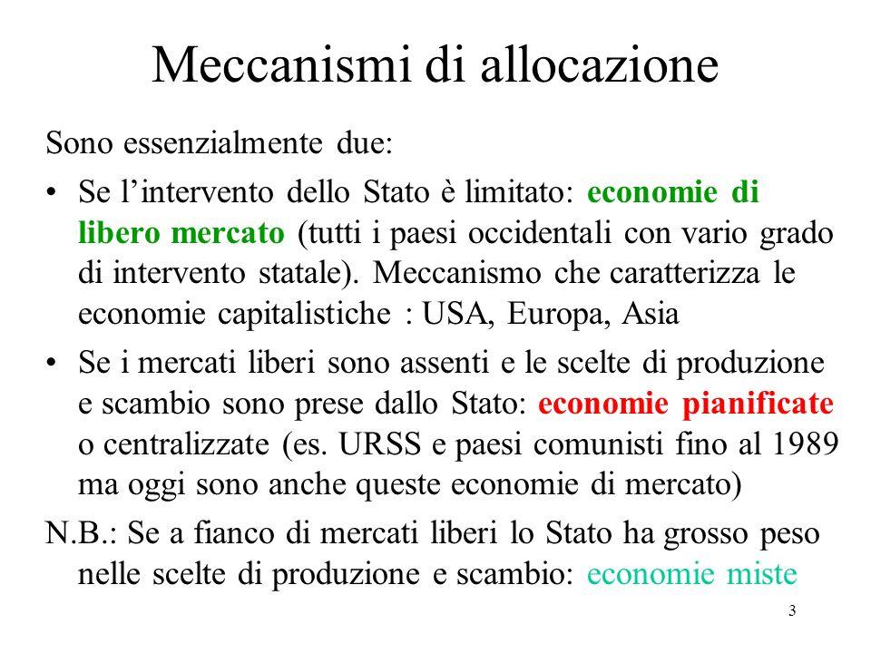 3 Meccanismi di allocazione Sono essenzialmente due: Se lintervento dello Stato è limitato: economie di libero mercato (tutti i paesi occidentali con