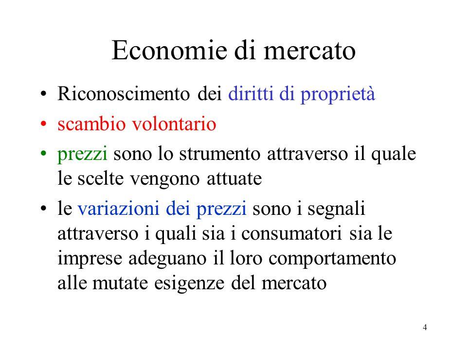 4 Economie di mercato Riconoscimento dei diritti di proprietà scambio volontario prezzi sono lo strumento attraverso il quale le scelte vengono attuat