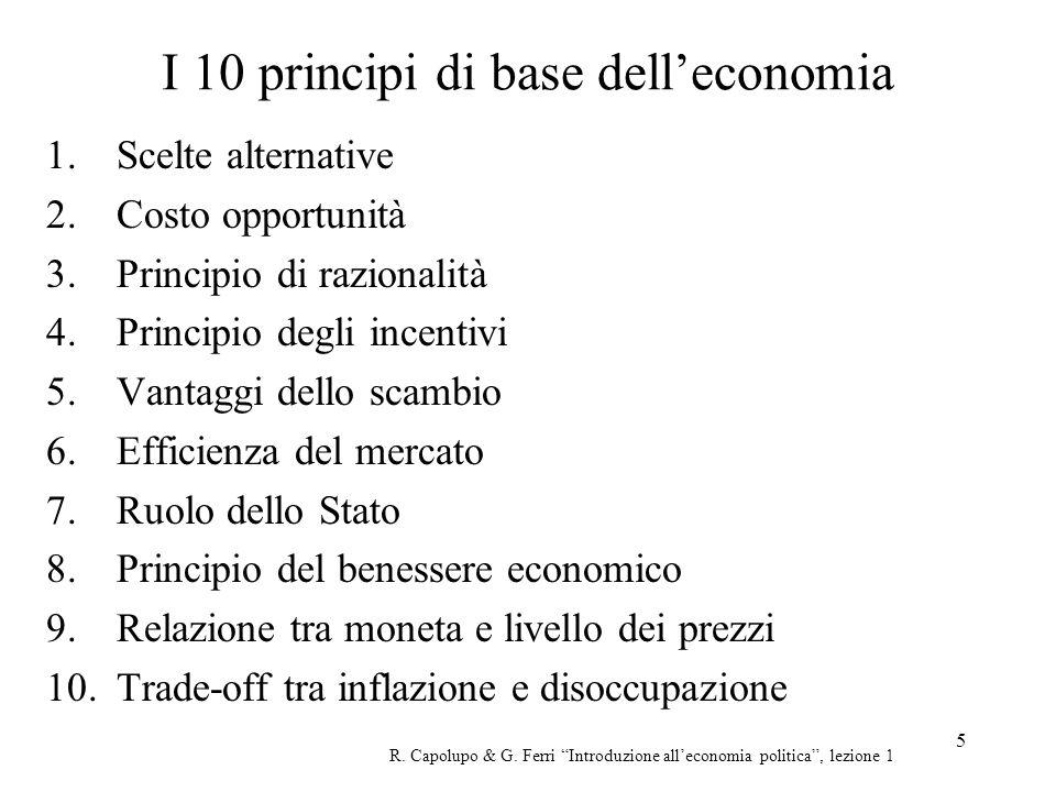 5 I 10 principi di base delleconomia 1.Scelte alternative 2.Costo opportunità 3.Principio di razionalità 4.Principio degli incentivi 5.Vantaggi dello