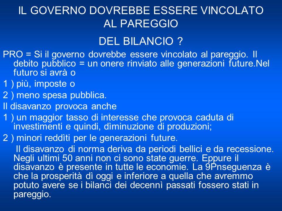 IL GOVERNO DOVREBBE ESSERE VINCOLATO AL PAREGGIO DEL BILANCIO .