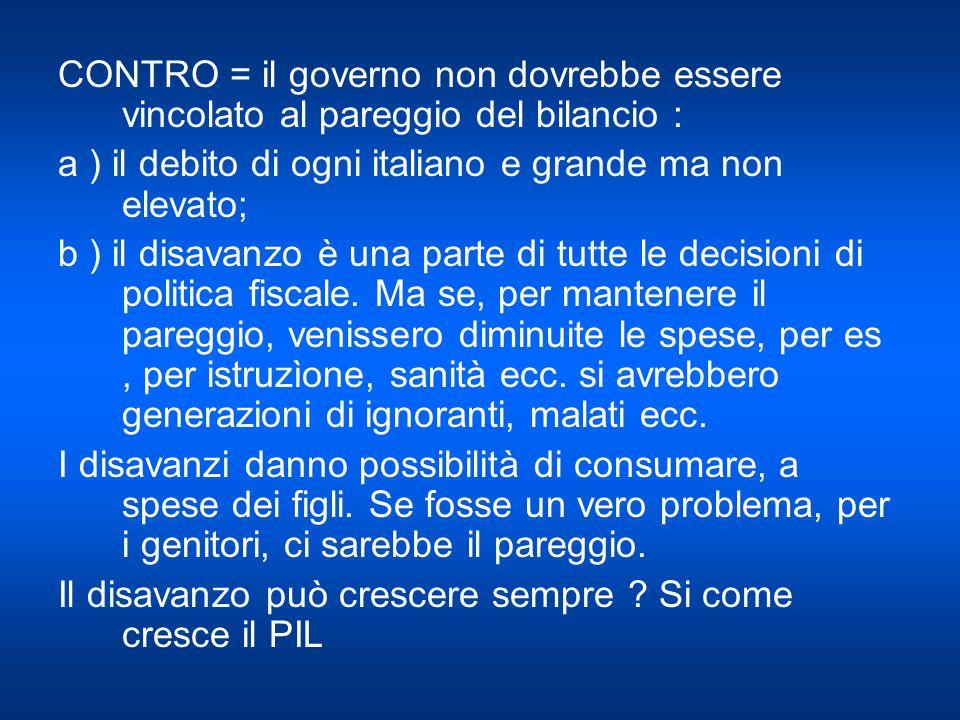 CONTRO = il governo non dovrebbe essere vincolato al pareggio del bilancio : a ) il debito di ogni italiano e grande ma non elevato; b ) il disavanzo è una parte di tutte le decisioni di politica fiscale.