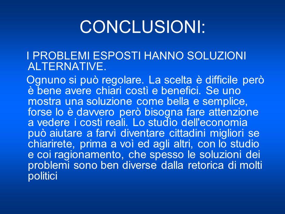 CONCLUSIONI: I PROBLEMI ESPOSTI HANNO SOLUZIONI ALTERNATIVE.