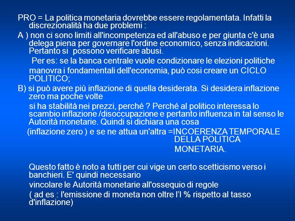 PRO = La politica monetaria dovrebbe essere regolamentata.