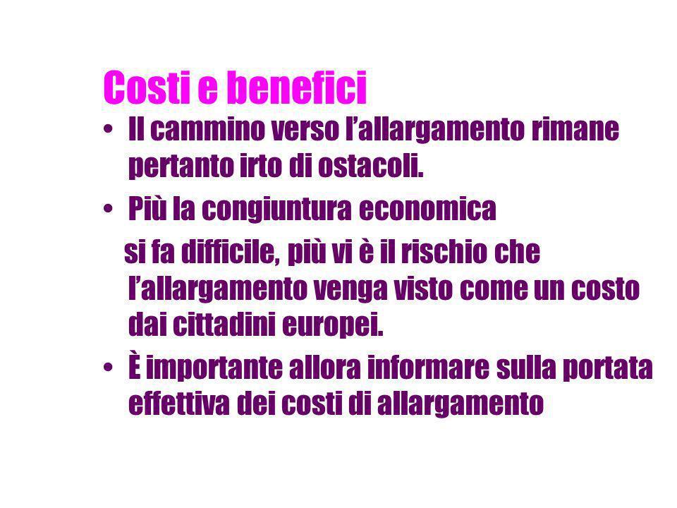 Costi e benefici Saremo invasi dai cittadini dellEst Europa, che cercheranno da noi migliori occasioni di esistenza e lavoro.