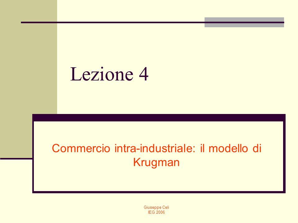 Giuseppe Celi IEG 2006 Lezione 4 Commercio intra-industriale: il modello di Krugman