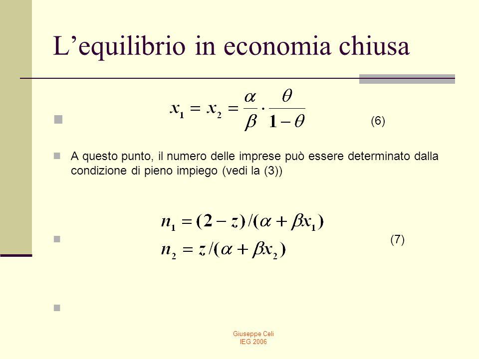 Giuseppe Celi IEG 2006 Lequilibrio in economia chiusa (6) A questo punto, il numero delle imprese può essere determinato dalla condizione di pieno imp