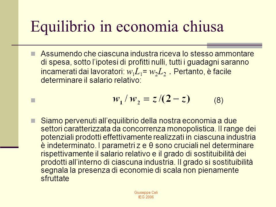 Giuseppe Celi IEG 2006 Equilibrio in economia chiusa Assumendo che ciascuna industra riceva lo stesso ammontare di spesa, sotto lipotesi di profitti n