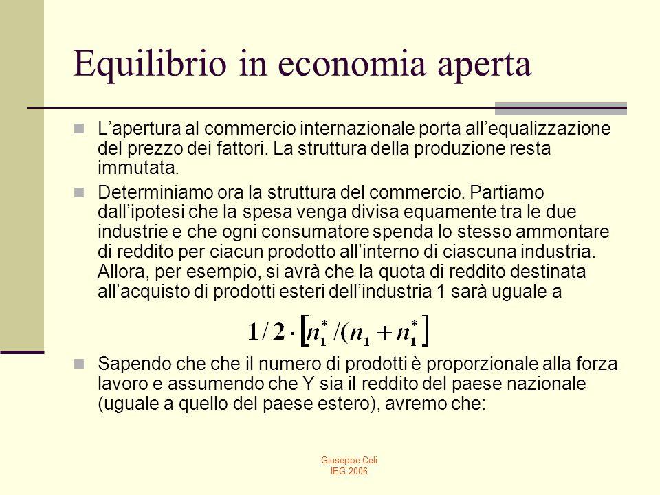 Giuseppe Celi IEG 2006 Equilibrio in economia aperta Lapertura al commercio internazionale porta allequalizzazione del prezzo dei fattori. La struttur