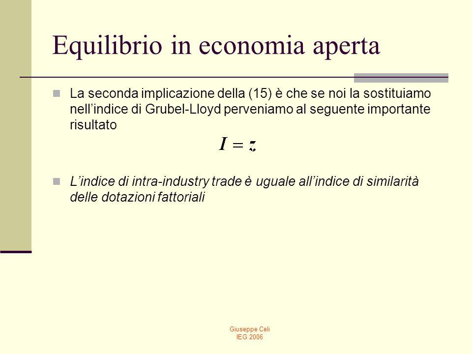 Giuseppe Celi IEG 2006 Equilibrio in economia aperta La seconda implicazione della (15) è che se noi la sostituiamo nellindice di Grubel-Lloyd perveni