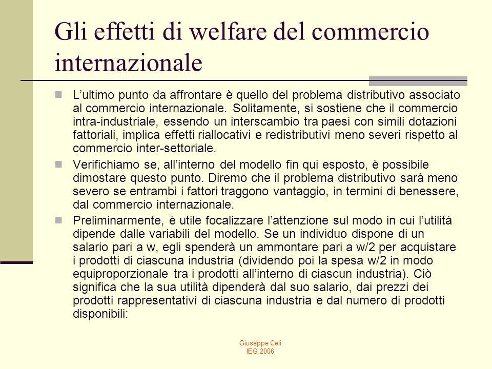 Giuseppe Celi IEG 2006 Gli effetti di welfare del commercio internazionale Lultimo punto da affrontare è quello del problema distributivo associato al