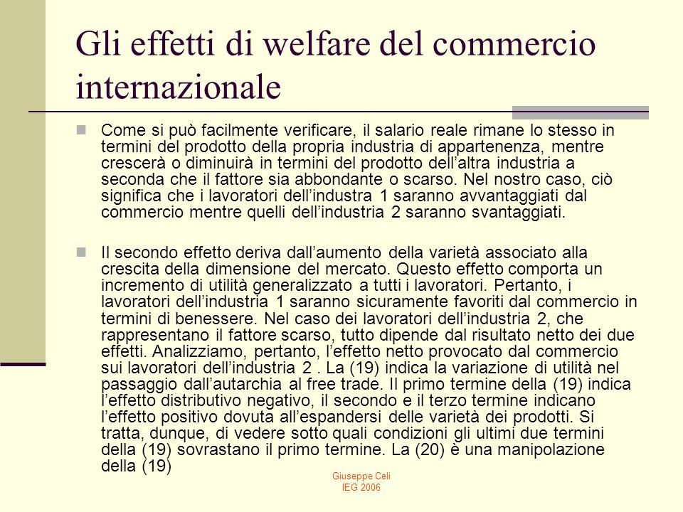 Giuseppe Celi IEG 2006 Gli effetti di welfare del commercio internazionale Come si può facilmente verificare, il salario reale rimane lo stesso in ter