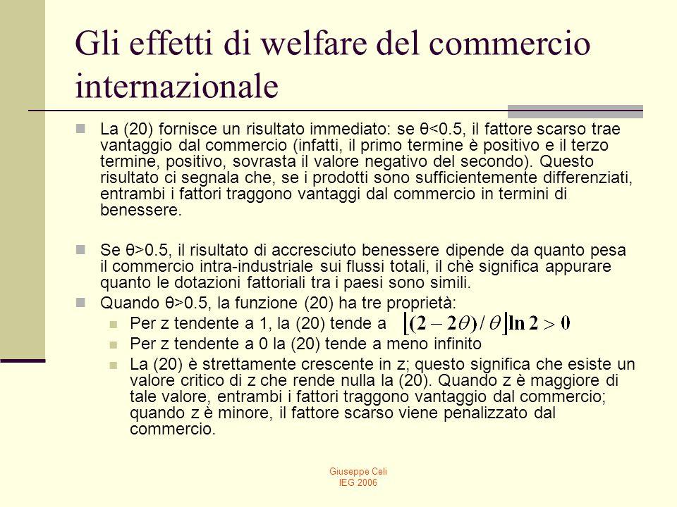 Giuseppe Celi IEG 2006 Gli effetti di welfare del commercio internazionale La (20) fornisce un risultato immediato: se θ<0.5, il fattore scarso trae v