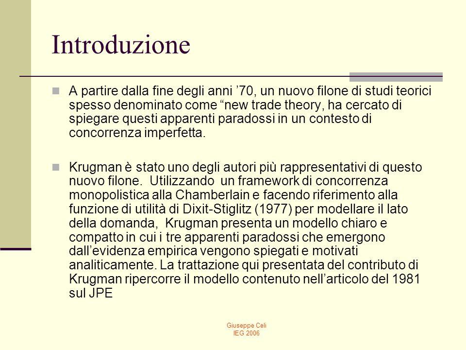 Giuseppe Celi IEG 2006 Introduzione A partire dalla fine degli anni 70, un nuovo filone di studi teorici spesso denominato come new trade theory, ha c