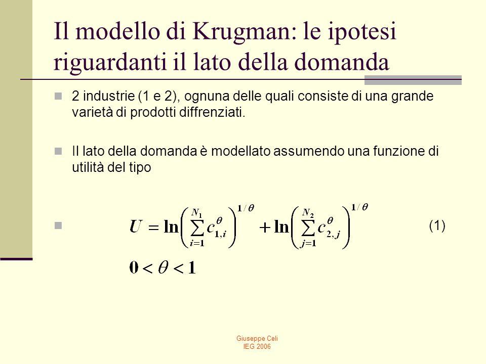 Giuseppe Celi IEG 2006 Il modello di Krugman: le ipotesi riguardanti il lato della domanda 2 industrie (1 e 2), ognuna delle quali consiste di una gra