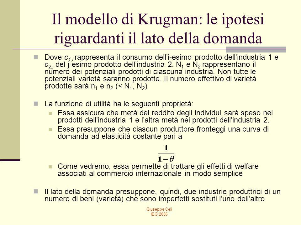 Giuseppe Celi IEG 2006 Il modello di Krugman: le ipotesi riguardanti il lato della domanda Dove c 1,i rappresenta il consumo delli-esimo prodotto dell
