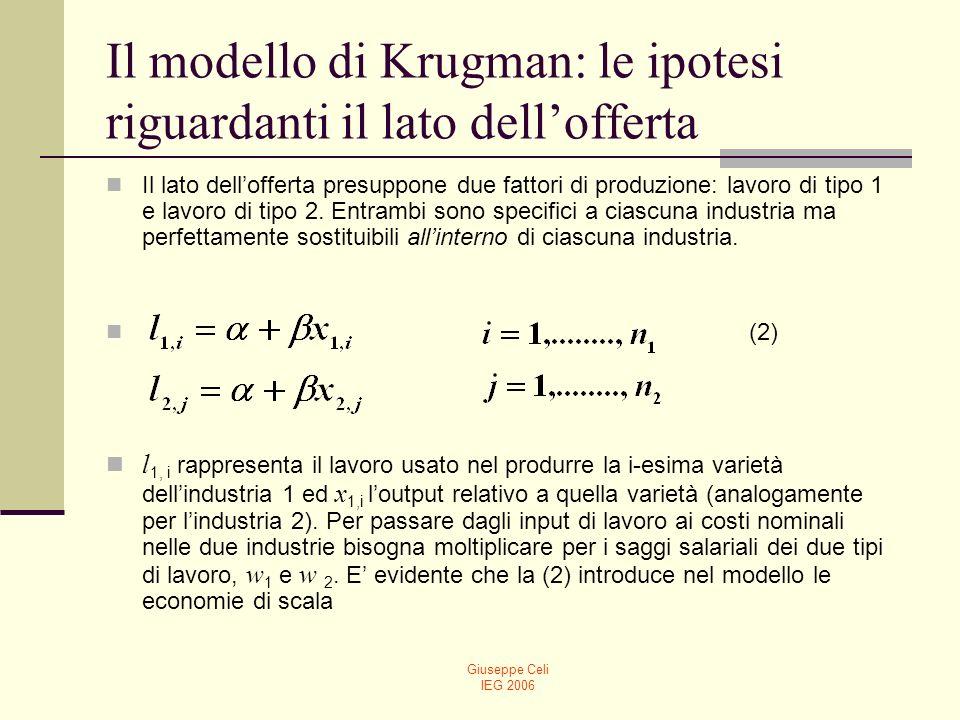 Giuseppe Celi IEG 2006 Il modello di Krugman: le ipotesi riguardanti il lato dellofferta Il lato dellofferta presuppone due fattori di produzione: lav