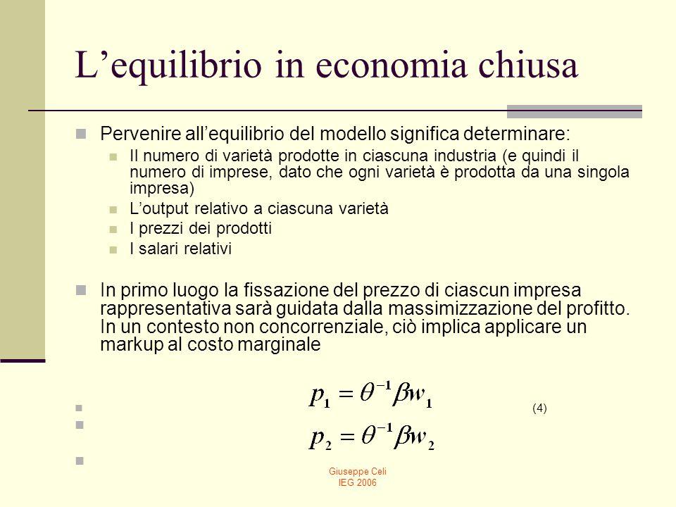 Giuseppe Celi IEG 2006 Lequilibrio in economia chiusa Pervenire allequilibrio del modello significa determinare: Il numero di varietà prodotte in cias