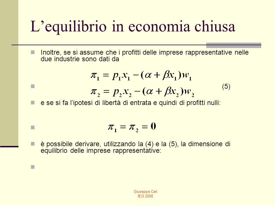 Giuseppe Celi IEG 2006 Lequilibrio in economia chiusa Inoltre, se si assume che i profitti delle imprese rappresentative nelle due industrie sono dati
