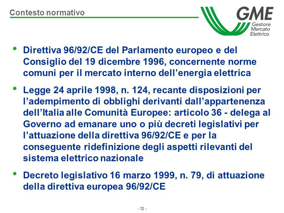 - 12 - Direttiva 96/92/CE del Parlamento europeo e del Consiglio del 19 dicembre 1996, concernente norme comuni per il mercato interno dellenergia ele