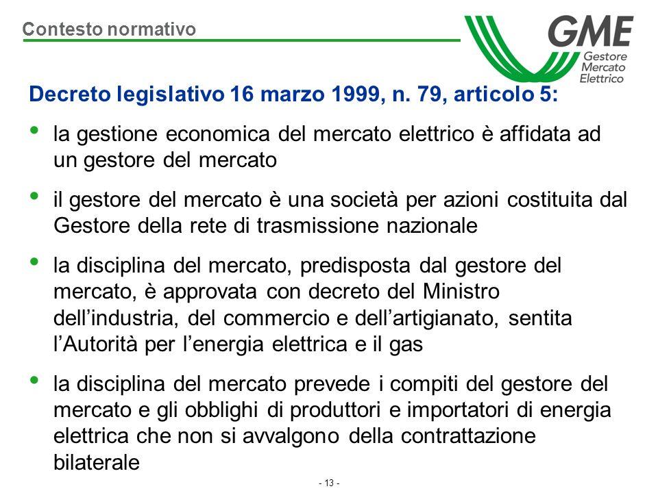 - 13 - Decreto legislativo 16 marzo 1999, n. 79, articolo 5: la gestione economica del mercato elettrico è affidata ad un gestore del mercato il gesto
