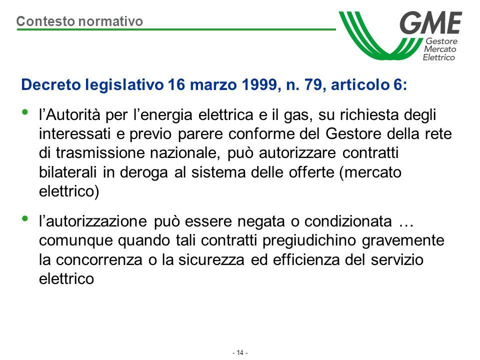 - 14 - Decreto legislativo 16 marzo 1999, n. 79, articolo 6: lAutorità per lenergia elettrica e il gas, su richiesta degli interessati e previo parere