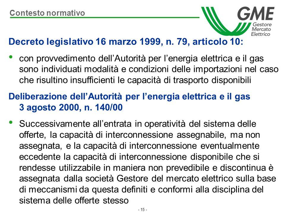 - 15 - Decreto legislativo 16 marzo 1999, n. 79, articolo 10: con provvedimento dellAutorità per lenergia elettrica e il gas sono individuati modalità