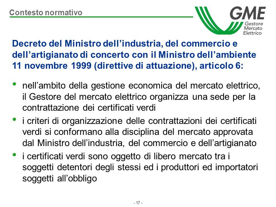 - 17 - nellambito della gestione economica del mercato elettrico, il Gestore del mercato elettrico organizza una sede per la contrattazione dei certif