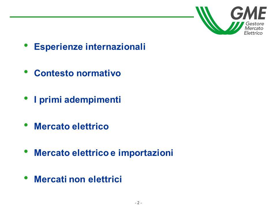 - 2 - Esperienze internazionali Contesto normativo I primi adempimenti Mercato elettrico Mercato elettrico e importazioni Mercati non elettrici