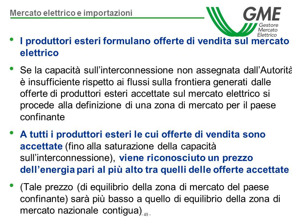 - 49 - I produttori esteri formulano offerte di vendita sul mercato elettrico Se la capacità sullinterconnessione non assegnata dallAutorità è insuffi