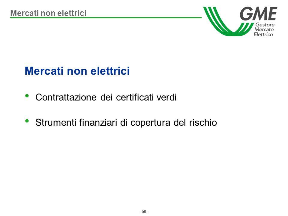 - 50 - Mercati non elettrici Contrattazione dei certificati verdi Strumenti finanziari di copertura del rischio Mercati non elettrici