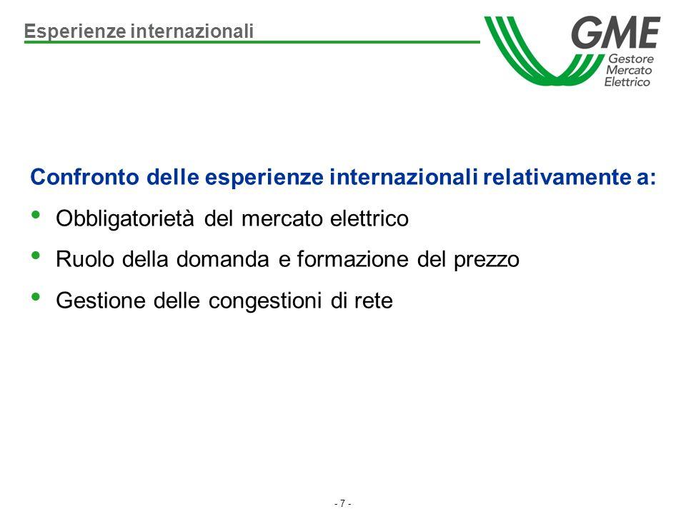 - 7 - Confronto delle esperienze internazionali relativamente a: Obbligatorietà del mercato elettrico Ruolo della domanda e formazione del prezzo Gest