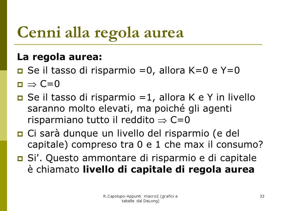 R.Capolupo-Appunti macro2 (grafici e tabelle dal DeLong) 33 Cenni alla regola aurea La regola aurea: Se il tasso di risparmio =0, allora K=0 e Y=0 C=0