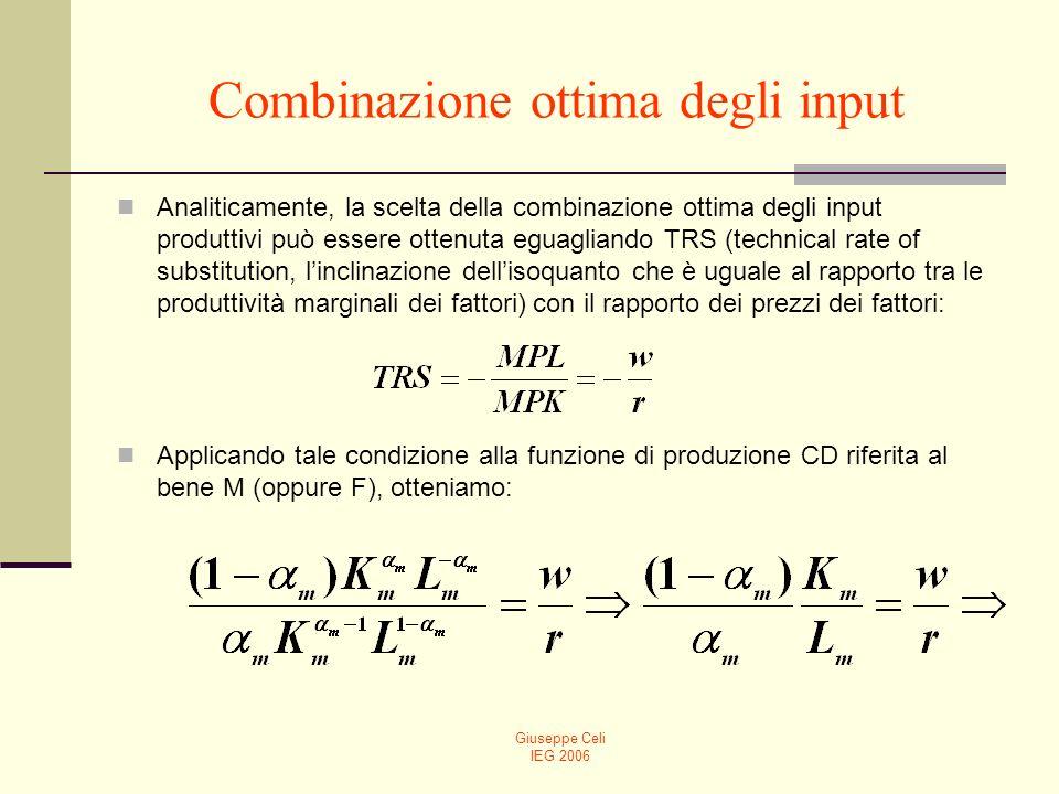 Giuseppe Celi IEG 2006 Combinazione ottima degli input Analiticamente, la scelta della combinazione ottima degli input produttivi può essere ottenuta