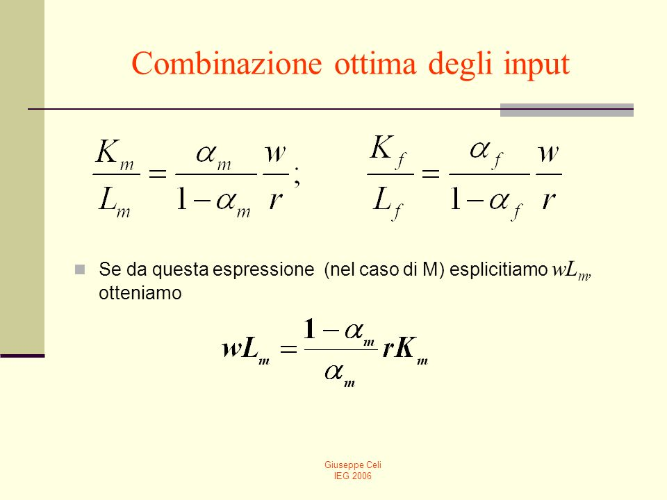 Giuseppe Celi IEG 2006 Combinazione ottima degli input Se da questa espressione (nel caso di M) esplicitiamo wL m, otteniamo