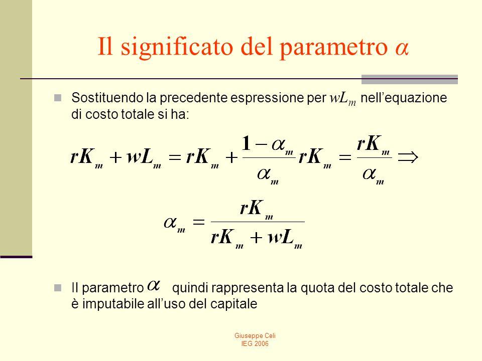 Giuseppe Celi IEG 2006 Il significato del parametro α Sostituendo la precedente espressione per wL m nellequazione di costo totale si ha: Il parametro