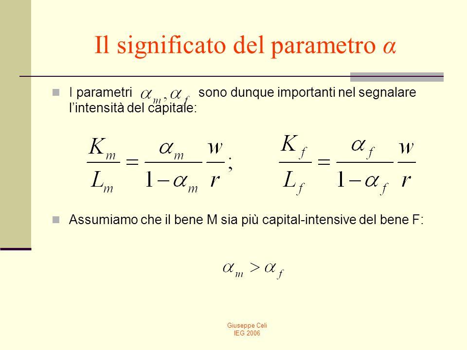 Giuseppe Celi IEG 2006 Il significato del parametro α I parametri sono dunque importanti nel segnalare lintensità del capitale: Assumiamo che il bene